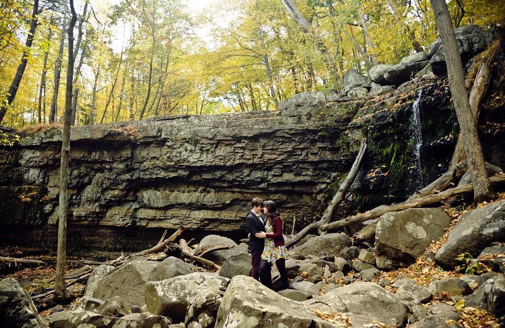 Megan and Tanya   Ringing Rocks Fall Engagement Session